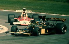 Ronnie Peterson in 1974 sliding the Lotus 72 beautifully.