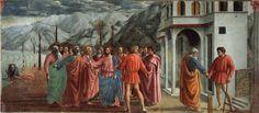 Masaccio, Le Tribut de Saint-Pierre, v. 1427, chapelle Brancacci, Santa Maria del Carmine, Florence.
