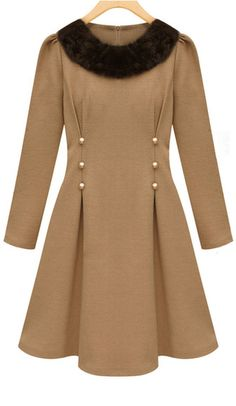 Fur collared dress with button and pleated detailing.  Lovely combination for this Fall.