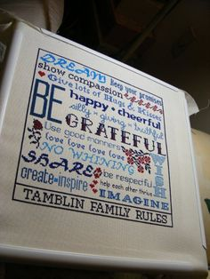 Family Rules Guidelines Cross-stitch Pattern. $5.00, via Etsy.