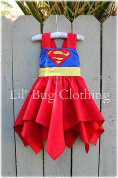 Boutique personalizado Super hombre súper chica súper mujer chicas traje de cumpleaños