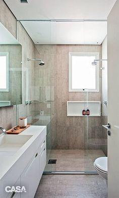 banheiro branco madeira cinza