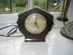 antique art deco mantle clock ferranti early electric bakelite perfect order