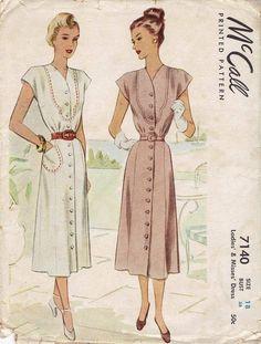 Vintage 1947 McCall 7140 Inset Yoked Front, Kimono Cap Slevd Dress Pattern_18,38