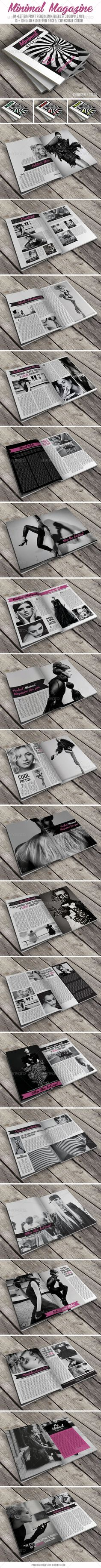 Minimal Magazine, ID Template #layout #indesign #magazine #template #editorial