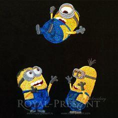 Machine Embroidery Designs - 3 Happy Minions - Stuart, Kevin and Bob