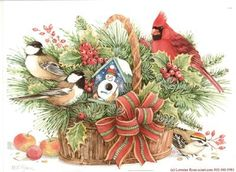 Holly Basket with Birds