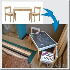 Ikea Latt Children's Activity Table Hack (need to redo N's table again...) -- What we did for our kiddo: Chalkboard paint on top, table frame and red and black chairs