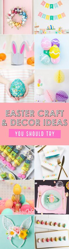 Easter Craft and Decor Ideas to Try. Twelve beautiful, modern ideas to bring your Easter to life! Try these crafts and decor ideas with your family for a beautiful Easter. Easter Projects, Easter Crafts For Kids, Easter Ideas, Easter Decor, Easter Recipes, Diy Projects, Easy Crafts To Sell, Mermaid Invitations, Popular Crafts