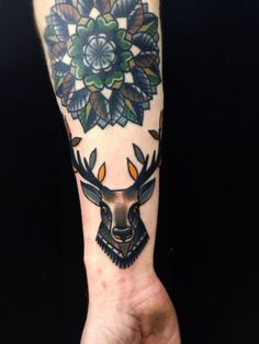 Arm Old School Deer Tattoo by Matt Cooley