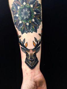 Arm Old School Deer Tattoo by Matt Cooley