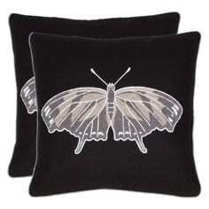 Safavieh Orchard Butterfly 18 In. Navy Blue/Grey Decorative Pillows - Set of 2