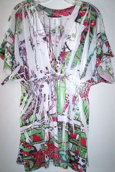 Simply Irresistible Top L Sublimated Wearable Art STRETCH Kimono Sleeve Tunic