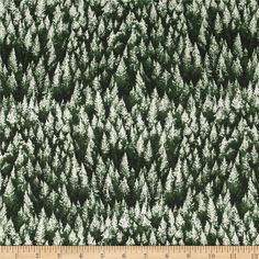 Woodsy Winter Metallic Trees Frost/Silver from @fabricdotcom From Hoffman California International Fabric, this cotton print fabric is perfect for quilting, apparel and home decor accents. Colors include shades of green. Features silver metallic accents throughout.