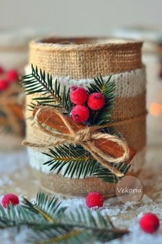Handmade decor for home: Workshop: Christmas candlestick Christmas Candles, Noel Christmas, Rustic Christmas, All Things Christmas, Vintage Party Decorations, Handmade Decorations, Xmas Decorations, Christmas Projects, Christmas Crafts