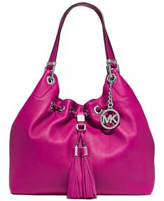 MICHAEL KORS CAMDEN - Fuschia Large Drawstring Shoulder Tote Leather NWT $398  #MichaelKors #TotesShoppers