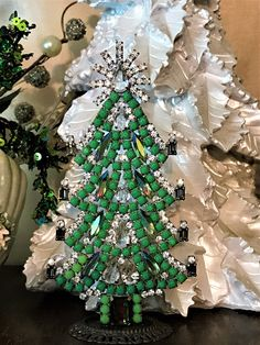 Husar Czech Rhinestone Tree, Vintage Crystal Christmas Tree, Matte Green Crystal Tree, Tabletop Tree, Holiday Decoration, Vintage Christmas by MeAndMoma on Etsy