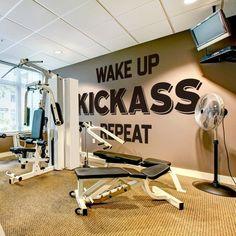 Wake Up, Kickass, Repeat, Gym, Wall, Decor, Sticker Wall Decor Stickers, Wall Decals, Vinyl Decals, Wake Up Kickass Repeat, Gym Decor, New Wall, Textured Walls, This Is Us, Windows