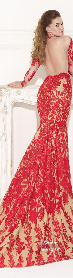 Tarik Ediz ~ Open Back Fitted Nude Gown w Red Embroidered Overlay 2015