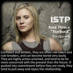 "Find Your Callsign: Battlestar Galactica Personality Chart - Kara ""Starbuck"" Thrace [ISTP]"