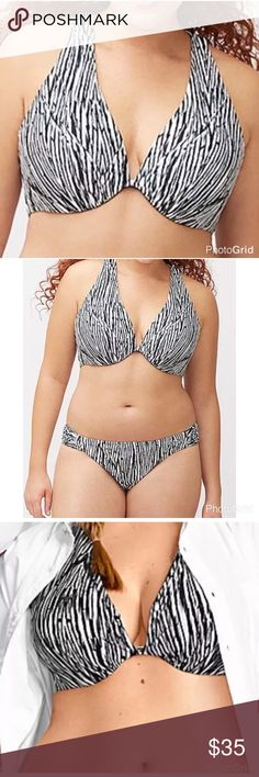 Lane Bryant Tribal Zebra Macrame Plunge Bikini Top Lane Bryant Tribal Zebra Macrame Plunge Bikini Swim Top Size 44B.                                                   New without tags  Label crossed out to prevent returns Created to lift, shape and flaunt just like your favorite Cacique plunge bra, this bikini top makes you the beach bombshell. Tribal zebra print and a sexy macrame back gives this swim top serious fashion cred, with underwire cups and fixed straps for a secure fit. Hidden…