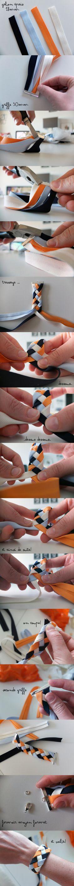 °° Tuto Bracelet Tressé °° [Inspiration Mondial Tissus] Magnifique bracelet fait de galons tressés à faire soi-même.