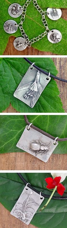 139. Laura Moore: Employing Japanese Precious Metal Clay, PMC, and objects from nature, the artist creates a one-of-a-kind form that shapes fine-grade silver into wearable art. Laura finishes using a variety of intricate surface treatments to bring out the texture and detail of every piece. They are enhanced with delicate silver chains and gem stones making each piece original and uniquely charming. www.BillysaBadKitty.com