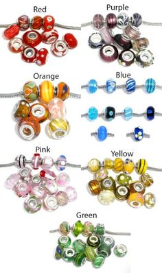 You Choose One(1) Ten Pack of Assorted Colors Glass Lampwork Murano Glass Beads for European Style Bracelets. Fits Pandora... for only $4.99