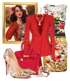 """LADYLIKE by DaNewMeh"" by thchosn ❤ liked on Polyvore featuring Dolce&Gabbana, Annarita N., Hermès, Christian Louboutin and Versace"