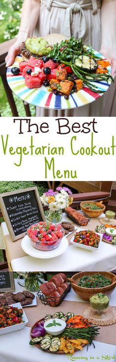 The Best Vegetarian Cookout Menu!  Healthy recipes and vegetarian grilling ideas for your next summer party.  Includes food like homemade black bean burgers, watermelon salad, grilled sweet potatoes, grilled vegetables and kale salad!  Simple, easy, clean eating and great for a crowd. / Running in a Skirt @aldiusa #TasteofALDI #ALDIGram #ad