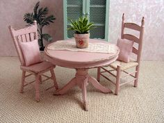 Dollhouse miniature Shabby Cottage Kitchen  Table by MiniAbuela
