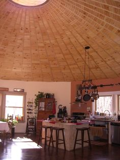 handmade home - Yurt- loving the pot hanger, wine rack and good use of space. Yurt Living, Tiny Living, Home And Living, Living Spaces, Yurt Interior, Yurt Home, Silo House, Round House, Handmade Home