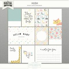 Document your tiny stories with Hush pocket cards. Tiny Stories, Baby Journal, Project Life Cards, Pocket Cards, Papers Co, Free Baby Stuff, Journal Cards, Filofax, Hush Hush
