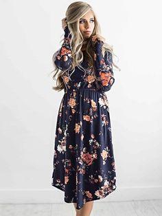 54446cdc7d96 Dresswel Women Floral Printing Dress Stylish Loose Autumn Dresses