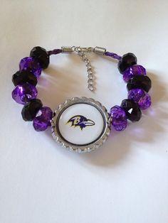 "Baltimore Ravens Football Inspired Beaded Purple Leather Adjustable Bracelet w Ravens Bird with White Background 7 1/2""-9"" on Etsy, $20.00"