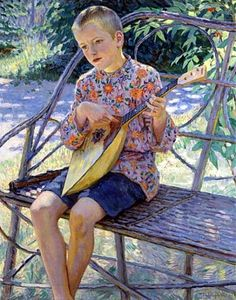 Nikolai Bogdanov-Belsky (Russian 1868–1945) [Realism, Impressionism] Portrait of Artist's Son, Klaus Erhardt, 1931.