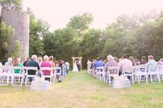 {outdoor ceremony next to the silo}