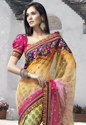 Musturd Net Saree with Blouse