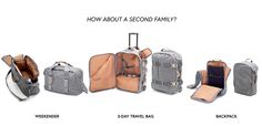 QWSTION Three Day Travel Bag, Weekender and Backpack in Washed Grey