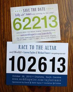 Yay this is us! Custom Race Bib Wedding Save the Date Cards