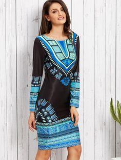 Shop Black Tribal Print Sheath Dress online. SheIn offers Black Tribal Print Sheath Dress & more to fit your fashionable needs.