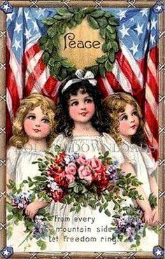 Peace Fourth of July Patriotic Postcard Digital Image Download by DollarDownloads, $1.50