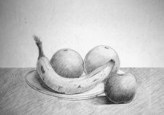 Supreme Portrait Drawing with Charcoal Ideas. Prodigious Portrait Drawing with Charcoal Ideas. Easy Pencil Drawings, Pencil Sketch Drawing, Art Drawings Sketches, Still Life Sketch, Still Life Drawing, Still Life Pencil Shading, Iron Man Drawing, Fruit Sketch, Shading Drawing