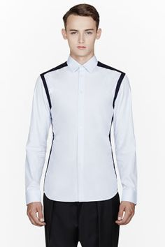 Givenchy Blue Contrast-trimmed Shirt for men | SSENSE