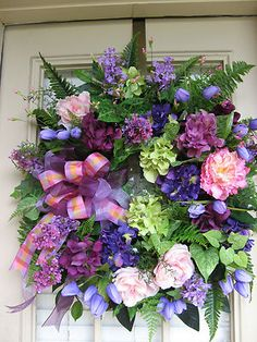 """""""PLUM PLAID"""" SPRING, SUMMER, EASTER, FRENCH COTTAGE, COUNTRY, GARDEN, WREATH by IvySage Designs"""