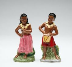 Tropical Hula Dancer Salt Pepper Shaker Set