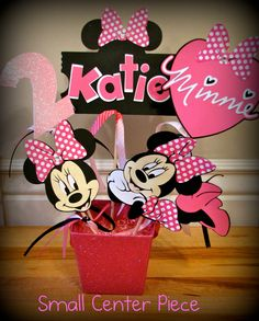 Small Minnie Mouse Party Center Piece. $15.00, via Etsy.