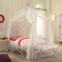Acme Priya II Twin Canopy Bed, White and Light Purple, Multicolor