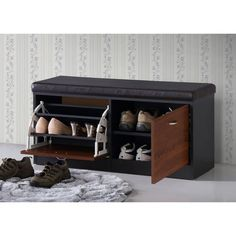 Baxton Studio Foley Modern Contemporary 2-tone Dark Brown Oak Finish Entryway Storage Cushion Bench Shoe Rack Cabinet Organizer
