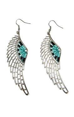 ($8) Beaded Angel Wing Earrings
